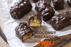 Oh yeah! Lots of chocolate! Now THAT'S a Twix candy bar! Add coconut to the mix and we've taken the Twix bar to a whole new level. Since Passover is ju… Passover Desserts, Passover Recipes, Gourmet Recipes, Dessert Recipes, Passover 2015, Passover Menu, Sweet Recipes, Chocolate Macaroons, Coconut Macaroons