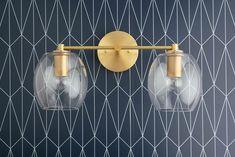 Clear Globe Vanity Light – Open Globe – Brass Vanity – Bathroom Fixture – Brass Bathroom Light – Glass Globe – Model No. Art Deco Vanity, Art Deco Bathroom, Art Deco Mirror, Gold Bathroom, Master Bathroom, Bathroom Ideas, Bathroom Inspo, Baby Bathroom, Upstairs Bathrooms