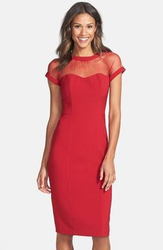 146a7ff0 Maggy London Illusion Yoke Crepe Sheath Dress (Regular & Petite)  available at #