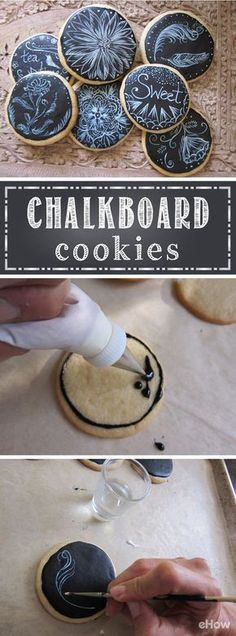 """Make plain sugar cookies into a tasty work of art with this easy recipe and design technique! Completely edible and safe, the kids can enjoy decorating their own or the full batch of """"chalkboard"""" cookies! http://www.ehow.com/how_12340627_make-chalkboard-cookies.html?utm_source=pinterest.com&utm_medium=referral&utm_content=freestyle&utm_campaign=fanpage"""