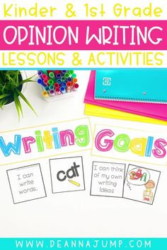 With this kindergarten and first grade opinion writing unit, students can share their opinions through fun kindergarten writing prompts. Use it to help build your students writing skills, and to find easy kindergarten opinion writing lessons.