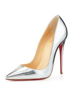 So Kate Metallic Red Sole Pump, Gray by Christian Louboutin at Neiman Marcus.