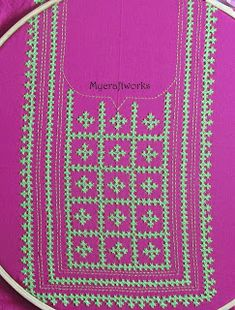 My craft works: Embroidery design 6 - Kutch My craft works: Embroidery design 6 - Kutch work Yoke Yoke Handmade Embroidery Designs, Flower Embroidery Designs, Creative Embroidery, Simple Embroidery, Japanese Embroidery, Ribbon Embroidery, Embroidery Stitches, Embroidery Patterns, Cross Stitch Patterns