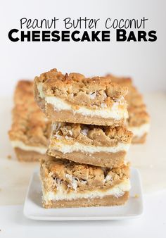These peanut butter coconut cheesecake bars are so simple to make and look incredible. The flavor is just as amazing as the presentation. You need these!