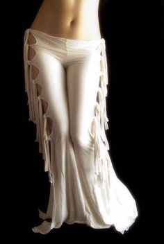 Sexy Exotic White Gothic Tribal Fusion Belly Dance Pant Fire Hoop Festival Wicca