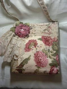 Rambling Rose and Vintage Doilies Handbag ♡ by touchograce on Etsy