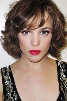 Short Hairstyles Curly Bob with Bangs for Long Face Women