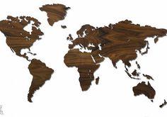 Weltkarte Holz Palissander Santos