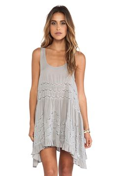 Free People Voile and Lace Trapeze Slip in Concrete Combo from REVOLVEclothing