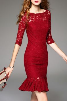Sweetsmile Wine Red Ruffle Hem Lace Dress | Knee Length Dresses at DEZZAL