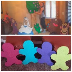 Cardboard (top) and wooden (bottom) candyland characters for party: Lord Licorice, Princess Frostine, Plumpy with plum tree, chocolate man (molasses man), gumdrop guy, and gingerbread game pieces