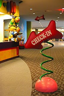 Worlds of Wow - making church fun with wonky 3D signs and amazing check-in areas helps kids get excited about church! Gateway Church, Southlake, TX.