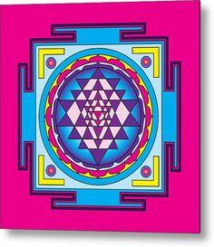 Sri Yantra Mandala Metal Print By Galactic Mantra. Check out more at: http://fineartamerica.com/profiles/galactic-mantra.html