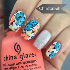 Fun, bright and tropical nails by @christabellnails using China Glaze Flip Flop Fantasy, Too Yacht ago Handle, and Hanging In The Balance.