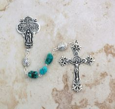 Reginas Catholic Gifts - Sterling Silver Turquoise Nuggets with Sterling Our Father Beads Rosary, $220.00 (http://www.reginascatholicgifts.com/sterling-silver-turquoise-nuggets-with-sterling-our-father-beads-rosary/)