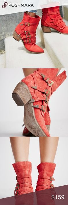 Mason Western Boot Free People brand beautiful crafted suede boots. Unique with strapping closers and rockin red color. A rare find and head turner. New in box with original packaging. Free People Shoes Ankle Boots & Booties
