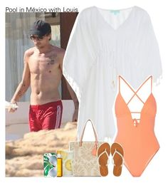 """""""Pool in México with Louis"""" by perfectharry ❤ liked on Polyvore featuring Melissa Odabash, Kate Spade, New Look, Tart, Martha Stewart, Clarins, Ray-Ban and Aéropostale"""