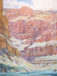 Inner Gorge at Eagle Rock, 53 x 41, Acrylic on Canvas by Merrill Mahaffey at a Scottsdale art gallery