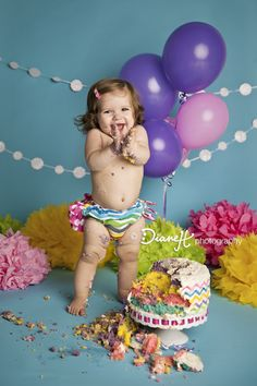 One Year Old Girl Cake Smash with Colorful Chevron {Winona Minnesota Baby Photographer}