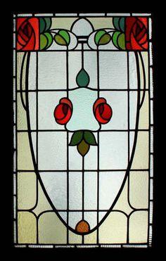 SPLENDID RARE ART NOUVEAU  MACKINTOSH ROSE BEAUTY STAINED GLASS WINDOW