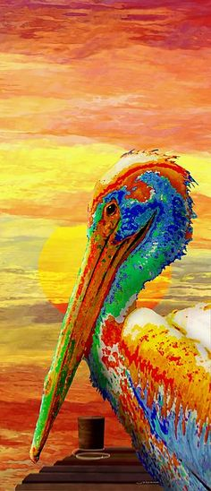 A Rainbow Pelican against an orange agate sky - bold colors that are actually somewhat peaceful to view.