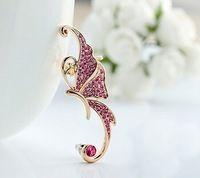 Oro blanco cristal mariposa del oído puños abandonado Clip en cartílago del oído manguito pendiente ES020
