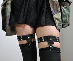 Simple Studded Sock Garters  One Pair  Made to Order by NOCTEX, $22.50