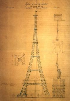 First drawing of the Eiffel Tower by Maurice Koechlin including size comparison with other Parisian landmarks such as Notre Dame de Paris, the Statue of Liberty and the Vendôme Column