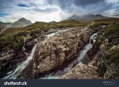 Beautiful Scottish Scenery In The Highlands. Solid Rock Stands His Ground In The Middle Of A Cascading Flowing River. Стоковые фотографии 482021410 : Shutterstock Splashback, Highlands, Photo Editing, Royalty Free Stock Photos, Scenery, Middle, River, Rock, Illustration