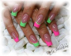 pink, green. mint. french manicure, summer . nail art