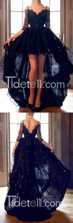 2016 black lace long high-low prom dresses/party dresses, graduation dresses