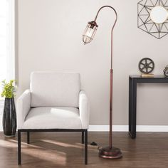 Shop for Carbon Loft Edgar Single-light Floor Lamp. Get free delivery On EVERYTHING* Overstock - Your Online Lamps & Lamp Shades Store! Funky Floor Lamps, Arc Floor Lamps, Floor Lamp Makeover, World Decor, Torchiere Floor Lamp, Cool Lamps, Pipe Lamp, Street Lamp, Light Bulb Types