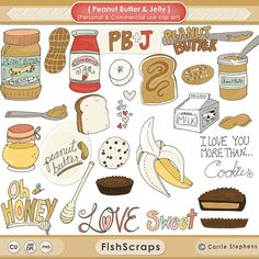 Peanut Butter, Chocolate & Honey - Fun and Whimsical Hand Drawn ClipArt Including these adorable Illustrations: A Sandwich, Bread, Banana, Chocolate Chocolate Peanut Butter Cups, Peanut Butter Banana, Chocolate Cookies, Feather Clip Art, Banana Clip, Drawing Clipart, Honey Recipes, Christmas Clipart, Cookies Et Biscuits