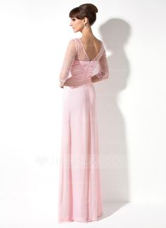 A-Line/Princess V-neck Floor-Length Chiffon Tulle Mother of the Bride Dress With Ruffle Beading Sequins (008005989)