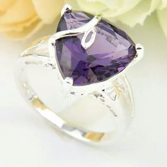 Amethyst Ring Sterling Silver Amethyst Ring. Gemstone size: 13x13?mm Ring Face Size: 1/2 Inch. Ring size: 8 Jewelry Rings