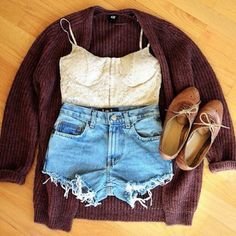 #outfits #style #oxfords #shoes #denimshorts #tanks #tanktops #bralettes #cardigans #burgundy #cute #fashion