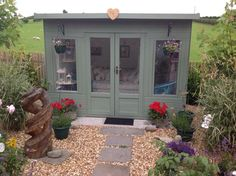 Waltons 10 x 8 Helios Summerhouse - We love what Dee has done with her summerhouse – the perfect place to while away the hours! Garden Shed Diy, Backyard Sheds, Backyard Garden Design, Backyard House, Garden Bar, Garden Office, Small Garden Summer House Ideas, Summer House Interiors, Gardens