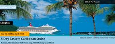 5 Day Eastern Caribbean Cruise - Nassau, The Bahamas, Half Moon Cay, The Bahamas, Grand Turk! Cheap Travel Deals, Eastern Caribbean Cruises, Coral Garden, Affordable Vacations, Discount Travel, Nassau, Serenity, Sailing, Carnival