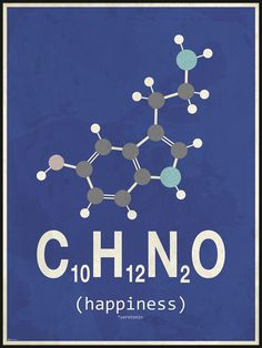 Ny molekyle plakat med happiness/glæde, her i blå og grå nuancer Chemistry Posters, Chemistry Classroom, Teaching Chemistry, Science Chemistry, Science Facts, Organic Chemistry, Chemistry Tattoo, Chemical Formula, Chemical Engineering