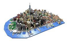 BrickMonkey MOCs built a commissioned model of Lower downtown Manhattan. The project contains 17 one thousand piece (approx.) models, and has 20,000 pieces total.