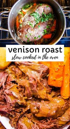 Easy venison roast recipe slow cooked in the oven with seasonings, carrots, onions and potatoes. This is the best bone in venison roast recipe ever! Mouthwatering venison roast cooked for six hours in the oven with carrots, potatoes and seasonings. Backstrap Recipes, Venison Backstrap, Venison Steak, Venison Meals, Cooking Venison, Slow Cooker Venison, Roast Brisket, Roast Recipes, Crockpot Recipes