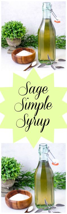 Sage Simple Syrup - Sage, sugar, and water. Great for cocktails, teas, mocktails drink Easy Drink Recipes, Best Cocktail Recipes, Punch Recipes, Yummy Drinks, Sweet Recipes, Homemade Syrup, Sweet Sauce, Spice Mixes, Simple Syrup
