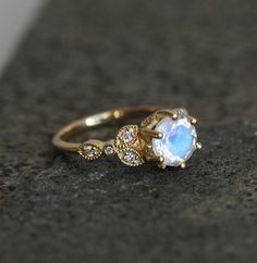 gold moonstone ring moonstone engagement ring rainbow by capucinne - Moonstone Wedding Rings