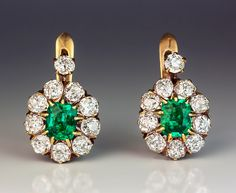 Vintage emerald and diamond cluster earrings - c. 1910 Colombian emerald and old European cut diamond earrings