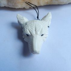 Support for custom Hot Sell Hand Carved Wolf Head Howlite Necklace Pendant 53x39x15mm 29.2g Trendy Jewelry Accessory #Affiliate