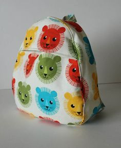 handmade toddler backpack in a colorful lion print