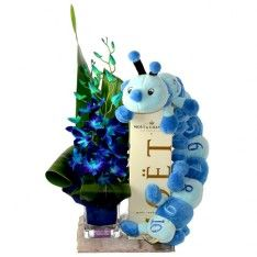 Baby gift delivery Gold Coast - Blue flowers