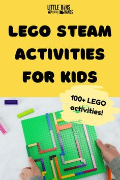 These LEGO STEAM Activities will have kids using their creativity to build for hours! With more than 100 LEGO activities in a great downloadable e-book, there are no limits to the LEGO STEM projects that every kids should try. Included in this easy LEGO builds bundle are a 31 day brick challenge calendar, STEM challenges and task cards, and so much more. Try these fun LEGO challenges with your kids today. Great for home, distance, and classroom learning! Early Learning Activities, Stem Learning, Steam Activities, Science Activities For Kids, Easy Science Experiments, Stem Science, Lego Math, Lego Challenge, Stem Challenges
