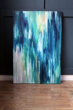 I love this artwork....Can I do my own? 24x36 Original Abstract Painting. Peacock IV.. $155.00, via Etsy.