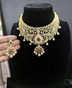 10 Top one gram gold chokers with price. Buy 1 Gram gold chokers necklace with earrings with best price. Check our collections at siri designers 1 Gram Gold Jewellery, Gold Jewelry, Jewelery, Luxury Jewelry, Jewelry Shop, Gold Choker Necklace, Earrings, Indian Jewelry Sets, Jewelry Patterns